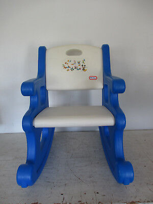 Astonishing Vintage Little Tikes White And Blue Rocking Chair Child Dailytribune Chair Design For Home Dailytribuneorg