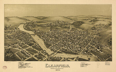 Vintage Map of Clearfield County Pennsylvania 1895 with framing option
