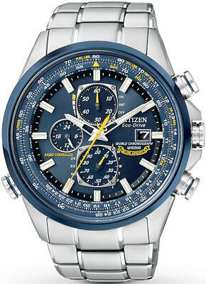 Men's Citizen Eco-Drive Blue Angels Chronograph Stainless Steel Watch AT8020-54L