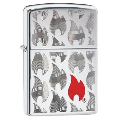 Zippo 29678, Flames, High Polish Chrome Finish Lighter, Full Size