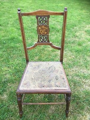 Chair Antique Edwardian Inlaid Marquetry single chair original fabric