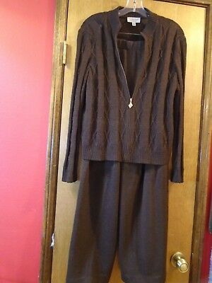 St. John Sport by Marie Gray, Brown Pant Suit Jacket with Gold Hardware w/Logo