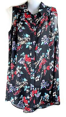 NEW LADIES WOMENS CHIFFON SLEEVELESS BLOUSE SHIRT FLORAL PRINT PLUS SIZE 12-28