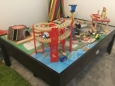 KidKraft Airport Express Train Set And Wooden Table Boys Girls Toddler