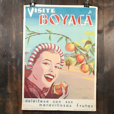 Large Unusual graphic Government tourism poster Boyaka Colombia woman Peaches