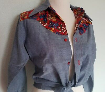 Vintage MONTGOMERY WARD Western floral button down Shirt girls 16 womens XS S