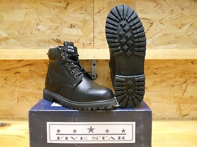 LIQUIDATION!! Men's Five Star Black Leather Work Boots w/ Oil Resistant Outsoles