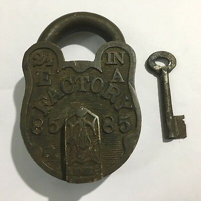 Old Antique Brass Solid Padlock & Key Collectible Hand Carved