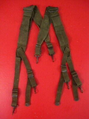 WWII Era US Army M1944 Field Pack Suspenders Complete - OD Green - Nice Cond #2