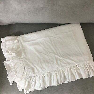 Pottery Barn Kids Crib Duvet Cover White with Ruffled Edges 50 x 36
