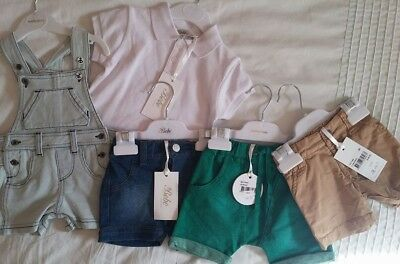Nwt Baby Boy Clothing Bundle bebe overalls tee shorts Size 000 0-3m over $200