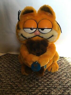 Vintage DAKIN 1981 GARFIELD Plush Hugging POOKY Teddy Bear w/Hang Tag