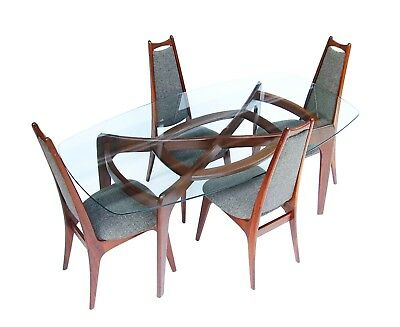 Adrian Pearsall Craft Associates Walnut & Glass Dining Table 2179-T & 4 Chairs