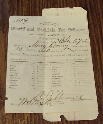 1886 'Fresno County' PROPERTY TAX Bill~Signed by Sheriff OLIVER JAMES MEADE~