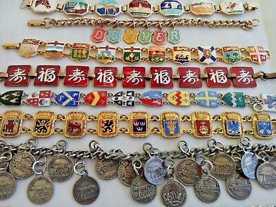 Vtg Bracelet LOT Enamel Travel Souvenir Shield Heraldry Europe Japan Canada Flag