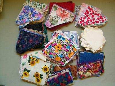 Huge Lot Vtg Pre Cut Cotton Quilt Fabric Squares Triangles Unknown Block Pattern