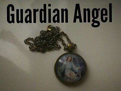 Code 307 Guardian Angel Infused Cabochon Necklace Confirmation Holy Communion