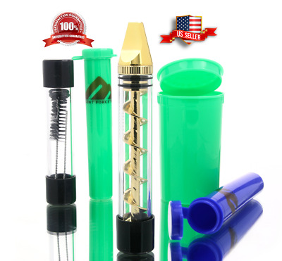 Twist Glass Blunt Pipe 3 Containers Herb Cleaner Brush Smoking Kit (Gold)