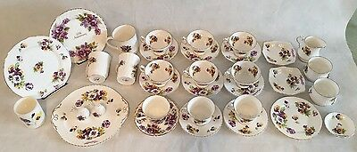34 Pieces Beautiful Hammersley & Co Bone China Tea Cups Saucers Dishes Pansies