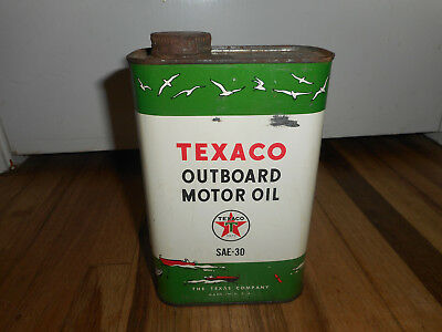Vintage TEXACO Outboard Motor Oil Tin Advertising ONE Quart Full CAN BOAT MARINE