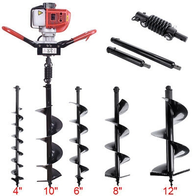 """52CC Gas Power Earth Auger Post Fence Hole Digger Drill 4"""" 6"""" 8"""" 10"""" 12"""" Bits"""
