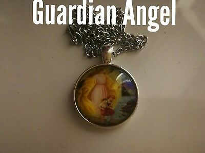 Code 465 Guardian Angel Infused Cabochon Necklace Confirmation Holy Communion