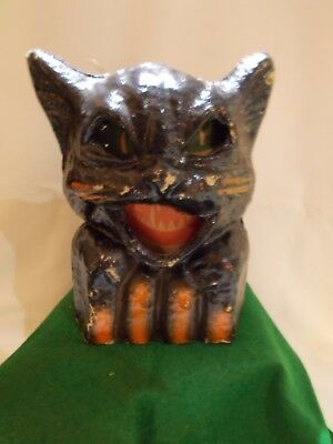 "☆ ~ Halloween Paper Mache 8"" BLACK CAT On FENCE / Lantern / Candy Container ~ ☆"