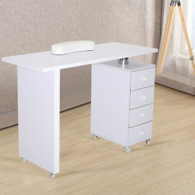 Manicure Nail Table Station Storage Mobile Salon Beauty Desk Drawers White Wood
