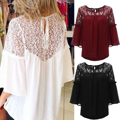 Women Plus Size Peasant Top T Shirt Tee Loose Sexy Sheer Crochet Lace Blouse