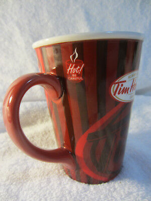 Tim Hortons Coffee Mug Cup Limited Edition #008 Red Stripe~Always Fresh~2008~EUC