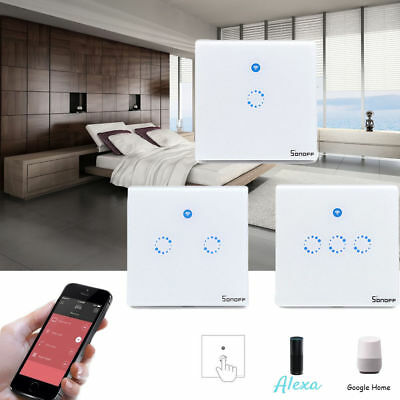 Sonoff 1/2/3Gang Smart WIFI APP Wall Light Touch Glass Panel Timing Switch US%^