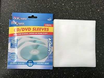 25pc Double Sided CD/DVD Plastic Sleeves -Fits Movie Covers Protect your CD/DVD