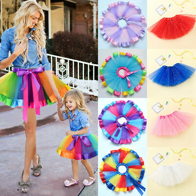AU Women Adults Kids Girl Tutu Skirt Princess Party Costume Ballet Dance Dress Q