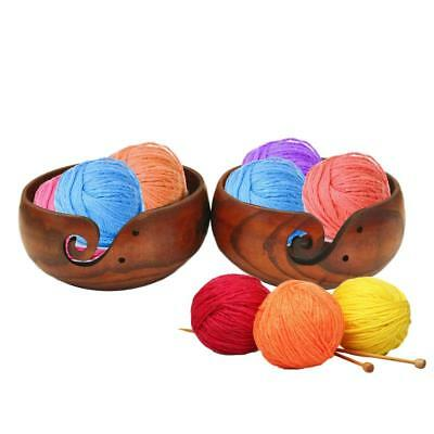 Wooden Yarn Crochet Thread Bowl Storage Smooth Box Case For Knitting Crocheting