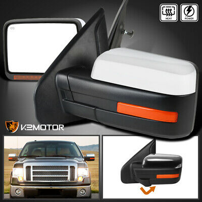 Fit 2007-2014 Ford F150 Chrome Power Side Mirrors+Heat/Defrost+LED Signal+Puddle