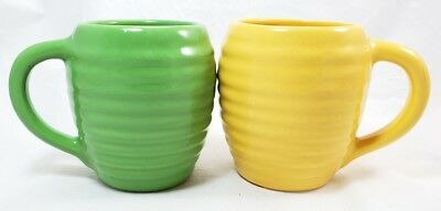 RARE VINTAGE! Pair of Bauer Green & Yellow Ripple Beehive Coffee Mugs Tea Cup