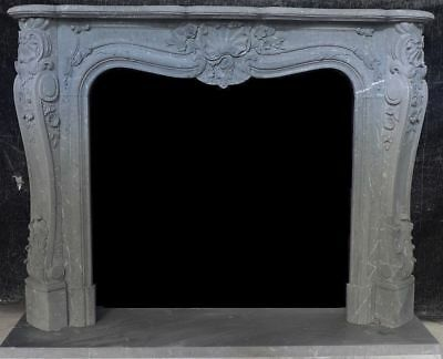 "Hand Carved French Mantle – Gray Marble – 67"" Wide – Very Unique Mantle"