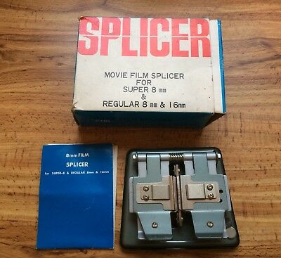 Movie Film Splicer For Super 8mm & Regular 8mm & 6mm Original Box + Instructions