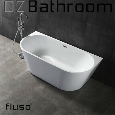Back to wall Thin edge Bathroom Acrylic Free Standing Bath+Overflow 1500x750@MEL
