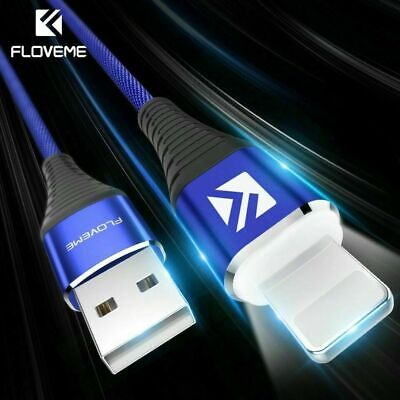 LED Genuine Braided Lightning Data Cable Charger for iPhone 8 7 Plus X