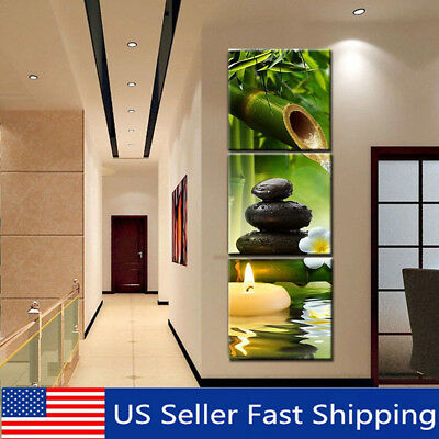 3Pcs Modern Bamboo Oil Painting Canvas Print Wall Pictures Home Decor Unframed