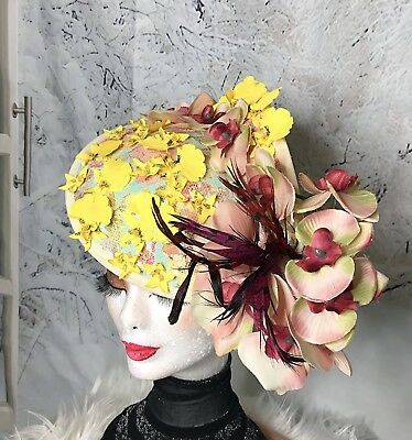 Wear once yellow and pink flower fascinator good for spring race wear once yellow and pink flower fascinator good for spring race day events mightylinksfo
