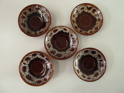 Fosters South West Cornwall Brown Honeycomb Pottery 5 X 13.5Cm Dia Saucers