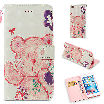 Colorful Cute Bear Wallet Leather Cover Case For iPhone 6S Plus/iPhone 6 Plus