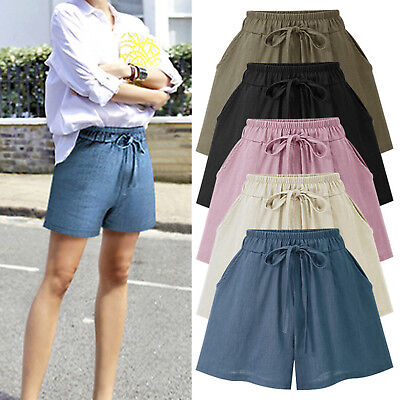 Plus Size Womens High Waisted Wide Leg Loose Casual Plain Shorts Hot Pants M-6XL