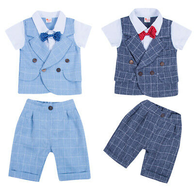 New Toddler Baby Kids Boy Shirt Tops+Pants Gentleman Outfits Clothes 2PCS Set