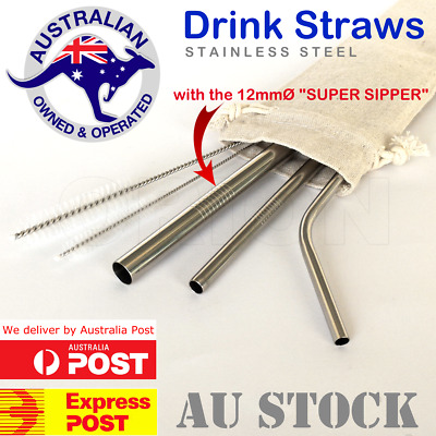 Stainless Steel Reusable Eco Friendly Metal Drinking Straws 3 Straw Variety Pack