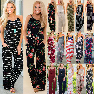 Plus Size Boho Womens Floral Holiday Playsuits Dress Long Trousers Jumpsuit 6-20