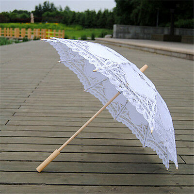 Handmade Parasol Umbrella Cotton Lace Bridal Wedding Party Prom White