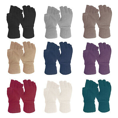 Ladies Womens Super Soft Warm Fine Knit Fingerless Winter Gloves Plain Colours
